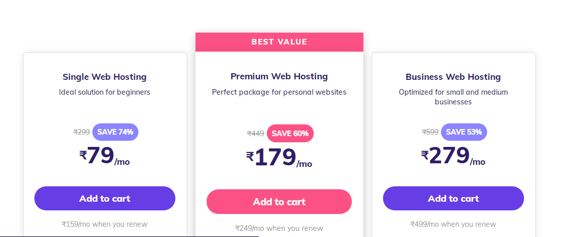 add hosting to cart create website